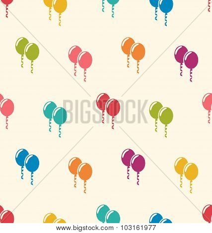 Seamless Pattern Multicolored Balloons for Happy Birthday