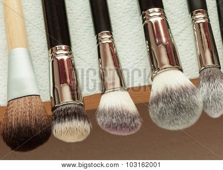 Process Of Cleaning Drying Makeup Brushes