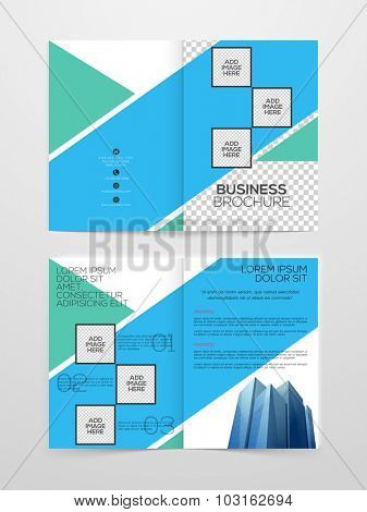 Stylish Two page Business Brochure, Banner, Flyer or Template with abstract design.