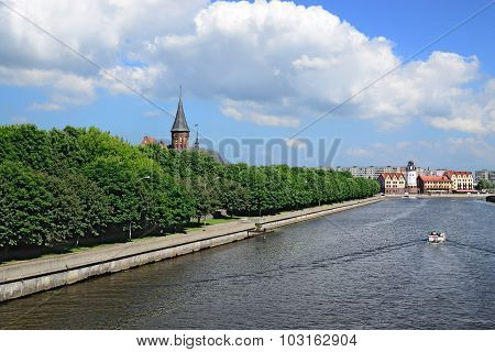 Cathedral On Kneiphof Island And Fishing Village - Sights Of Kaliningrad, Russia