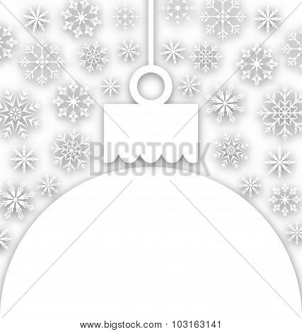 Paper Christmas ball with snowflakes textured