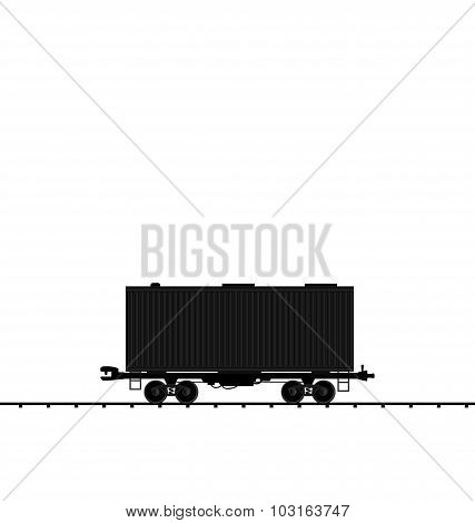 Illustration wagon cargo railroad train, black transportation ic