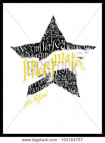 Film festival poster. Calligraphy star shape