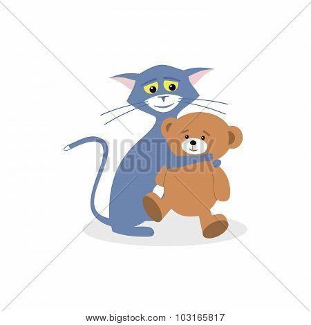 Cat Hugs Bear