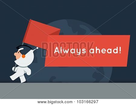 Flat style vector banner with little funny astronaut and big red flag