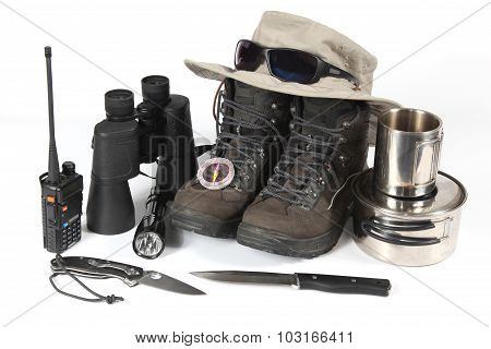A Set Of Different Items For Hiking