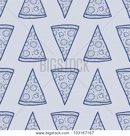 Vector Seamless Pattern With Slices Of Pizza