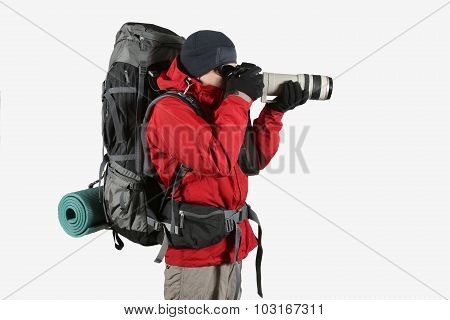 A Tourist In A Red Jacket With A Gray Backpack On A White Background Photographs