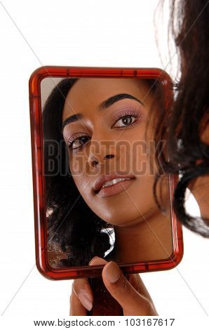 Mirror Picture Of African American Girl.