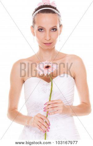 Attractive Bride White Wedding Dress With Flower