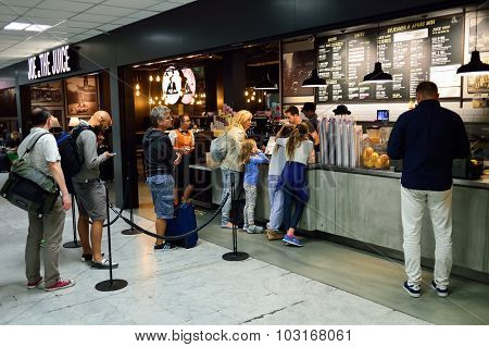 NICE, FRANCE - AUGUST 15, 2015: Airport cafe interior. Nice International Airport It is located 5.9 km southwest of Nice. It is the third busiest airport in France.