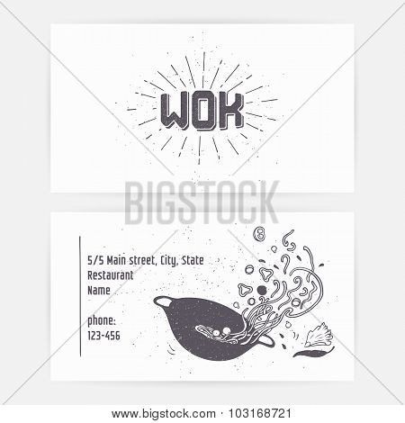 Business Card Set With Wok Noodles. Hand Drawn Logo Template And Sunburst. Monochrome Hipster Style