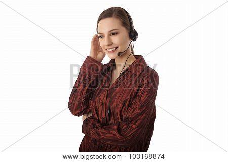 Pretty young female customer service rep