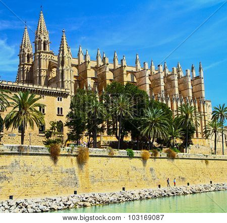 The Cathedral Of Santa Maria Of Palma And Parc Del Mar  Majorca, Spain