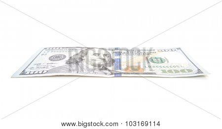 Single hundred dollar note. All on white background.