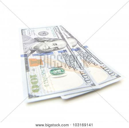 Two hundred dollar notes. All on white background.