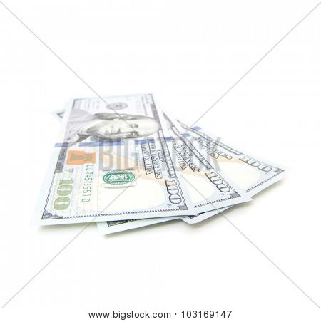 Three hundred dollar notes. All on white background.