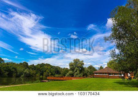 Wooden verandah at the park
