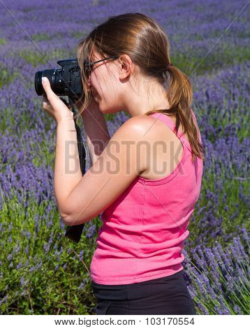 Beautiful Woman Among Lavender Photographing Some Lavender Flowers