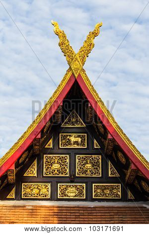 Gable Apex With Sky In Thai Temple, Lanna Style
