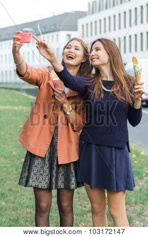 Girls Make Selfie Phone With Ice Cream