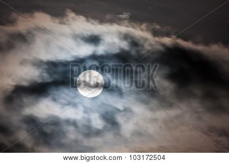 Full Moon with Dark, Dramatic Clouds