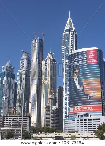Sheikh Zayed Road skyscrapers in Dubai, UAE