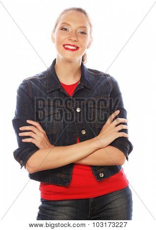 life style, happiness, emotional and people concept: Beautiful young woman wearing red shirt looking at camera and make different emotions  against white background