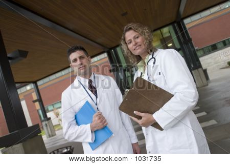 2 Doctors Outside Of Hospital