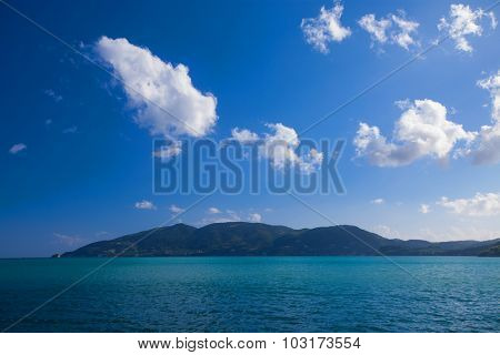 Happy summer day, travel concept - blue sea and sky, bright picture