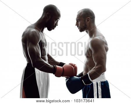 two men boxers boxing on isolated silhouette white background