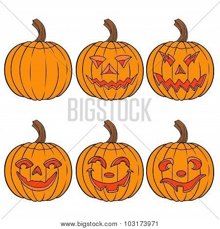 Halloween Set Of Six Orange Pumpkins