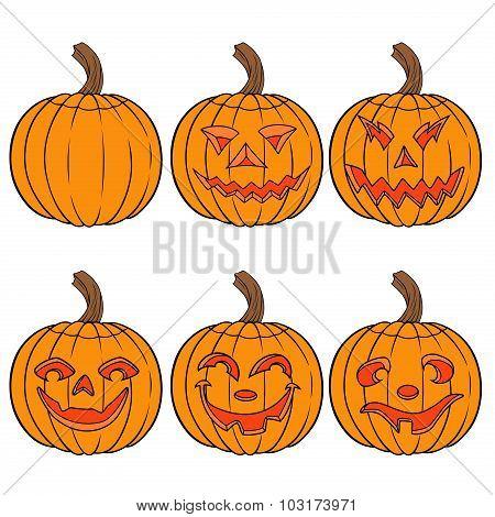 Halloween Set Of Six Orange Pumpkins