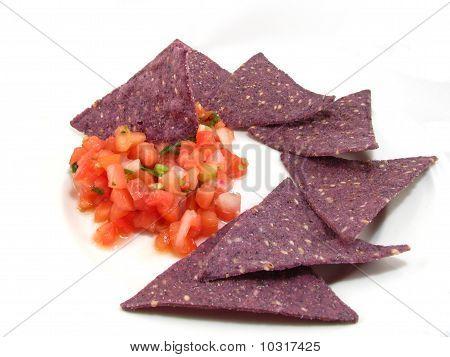 Salsa and Blue Tortilla Chips