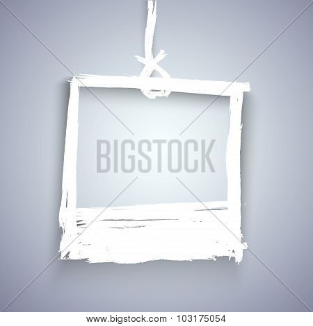 Handdrawn Vector Watercolor Ink Photoframe on the Wall