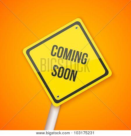 Photorealistic Vector Website Coming Soon Road Sign. Website Und