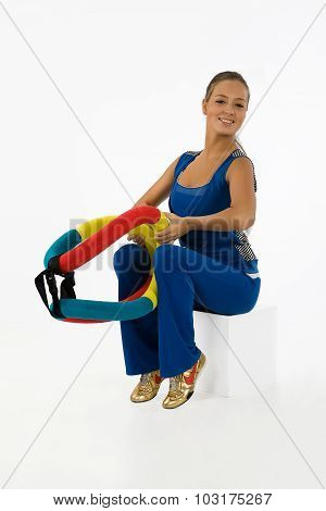 Young Woman And Training Device
