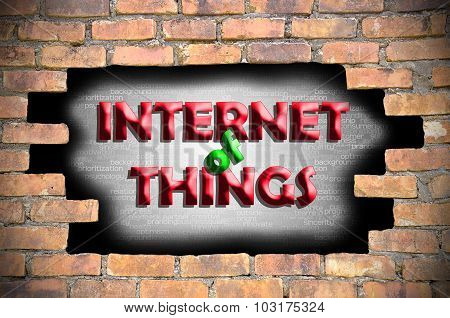 Internet Of Things In The Hole Of Brick Wall