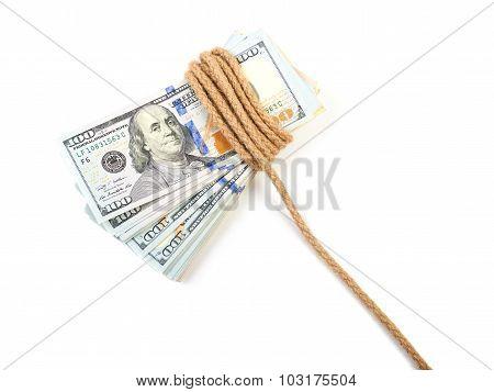 Hundred-dollar bills tied