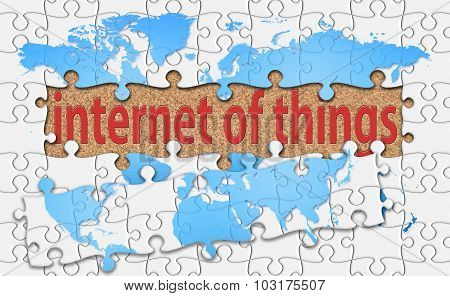 Internet Of Things Word With Reveal Jigsaw