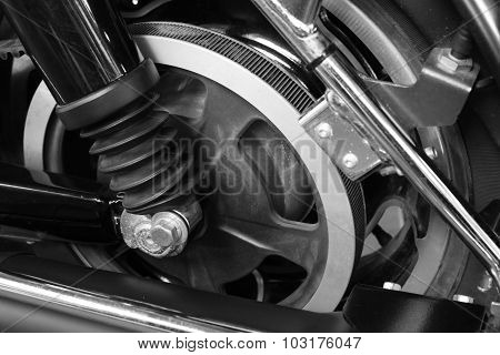 Belt drive wheel in the motorcycle