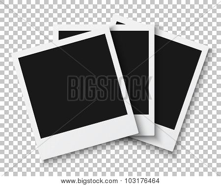 Bunch of Photo Frames Isolated on PS Style Background. Photoreal