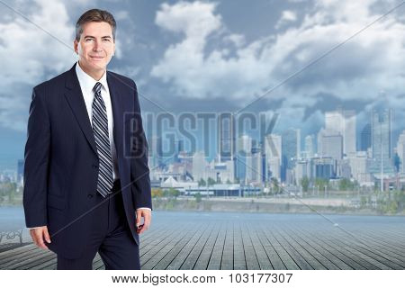 Handsome stylish businessman. Accounting and finance business.