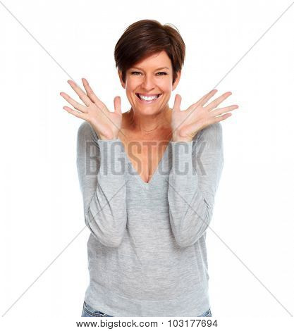 Happy excited mature woman isolated white background.