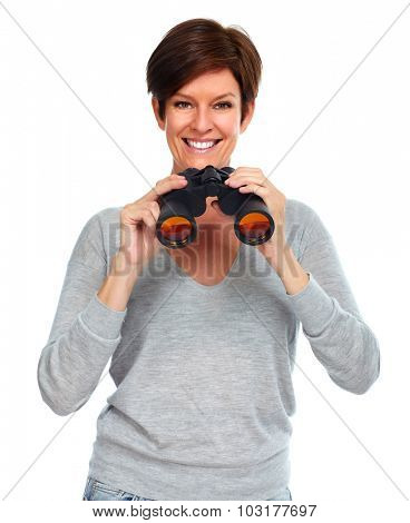 Business lady with binoculars. Isolated white background.