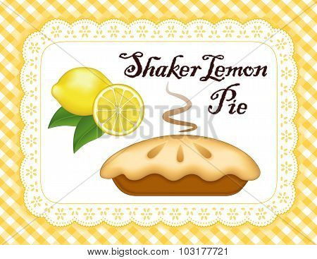 Lemon Pie, Lace Doily Place Mat, Yellow Gingham Check