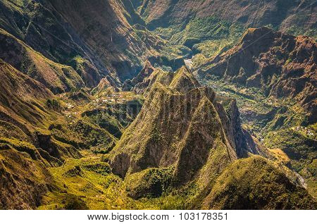 Hill of Roche Plate in the middle of moutains, Reunion Island