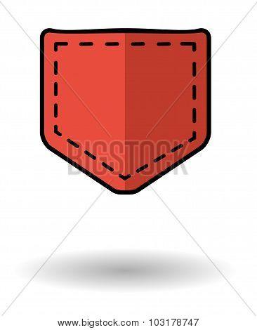 Red Pocket Vector Icon