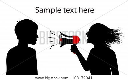 silhouettes of man and woman . woman shouts in a megaphone