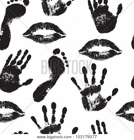 seamless background with black lip prints, palms and feet